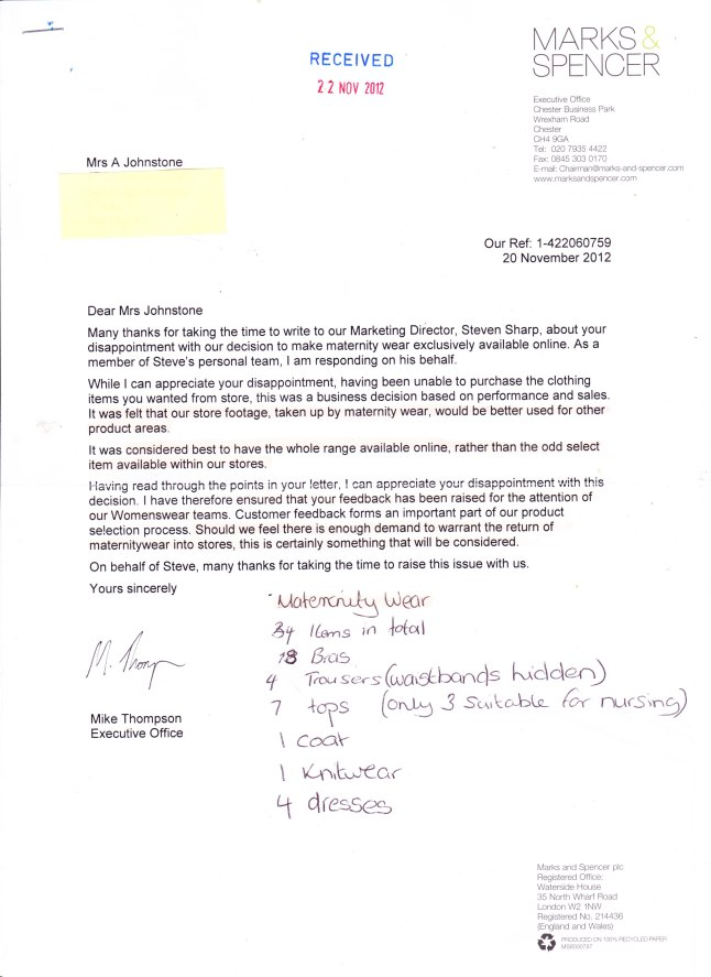 Marks and Spencer Letter